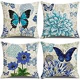 LAXEUYO Juego de 4 Cojin Fundas 45x45 cm, Mariposa Flor Azul Algodón Lino Decorativa...