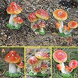 Mioke Hongos Decoración de Jardín,3PCS Mini Hongos Ornamentos,Estatuilla Casa de Hadas