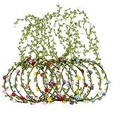 10 Piezas Corona de Flores de Multicolor Diadema Floral Guirnalda de Flores de Pelo para...